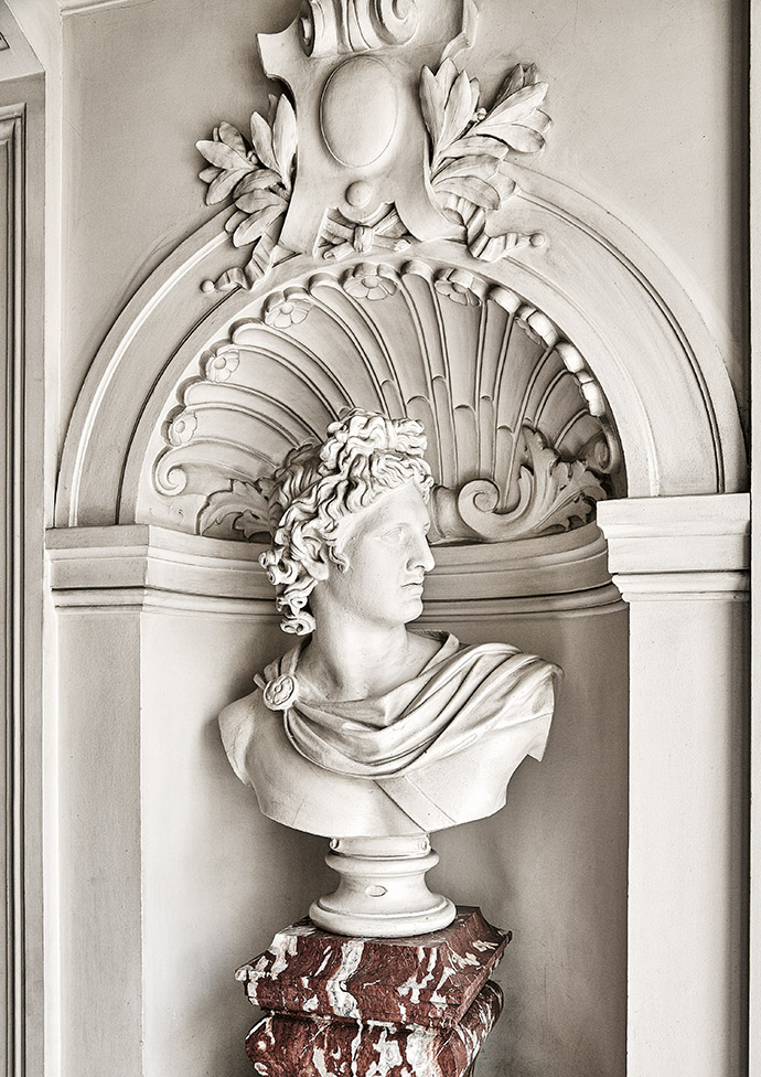 An imposing bust in the hallway of Emmanuel's apartment.