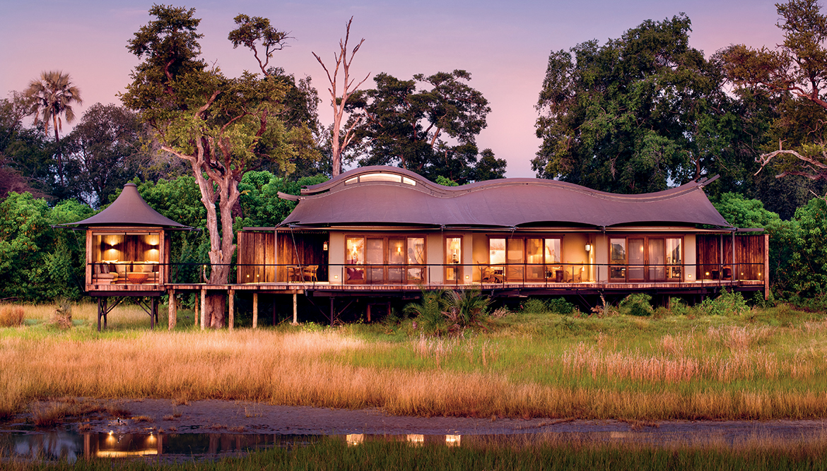Each suite has a private game-viewing gazebo (far left), plus the essential bush luxury of an outdoor shower. The sweeping rooflines with their clerestory windows give the buildings a nature-inspired elegance.