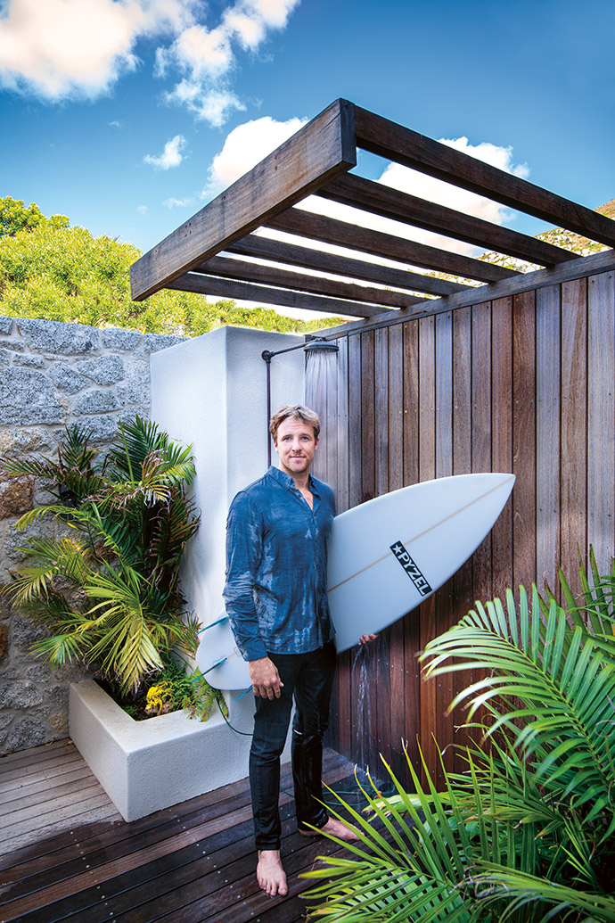 Architect James Mitchell, a keen surfer himself, designed the house to accommodate the outdoorsy lifestyle of its owner.