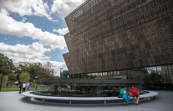 The oculus of the Contemplative Court outside the David Adjaye-designed Smithsonian National Museum of African American History and Culture in Washington, DC