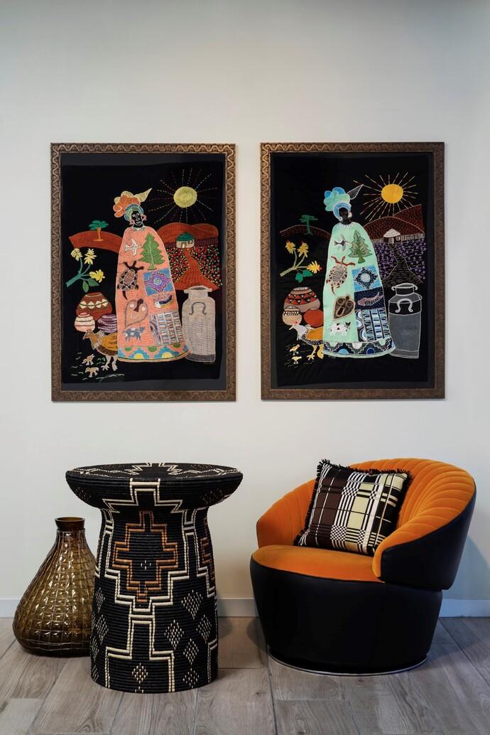 Angeline Masuku's black totem table woven with Illala palm.
