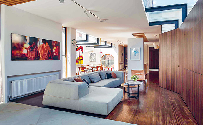 Part of the brief to architect Stefan Bagnoli was to create open-plan living areas that would allow the house to function like a mini gallery.