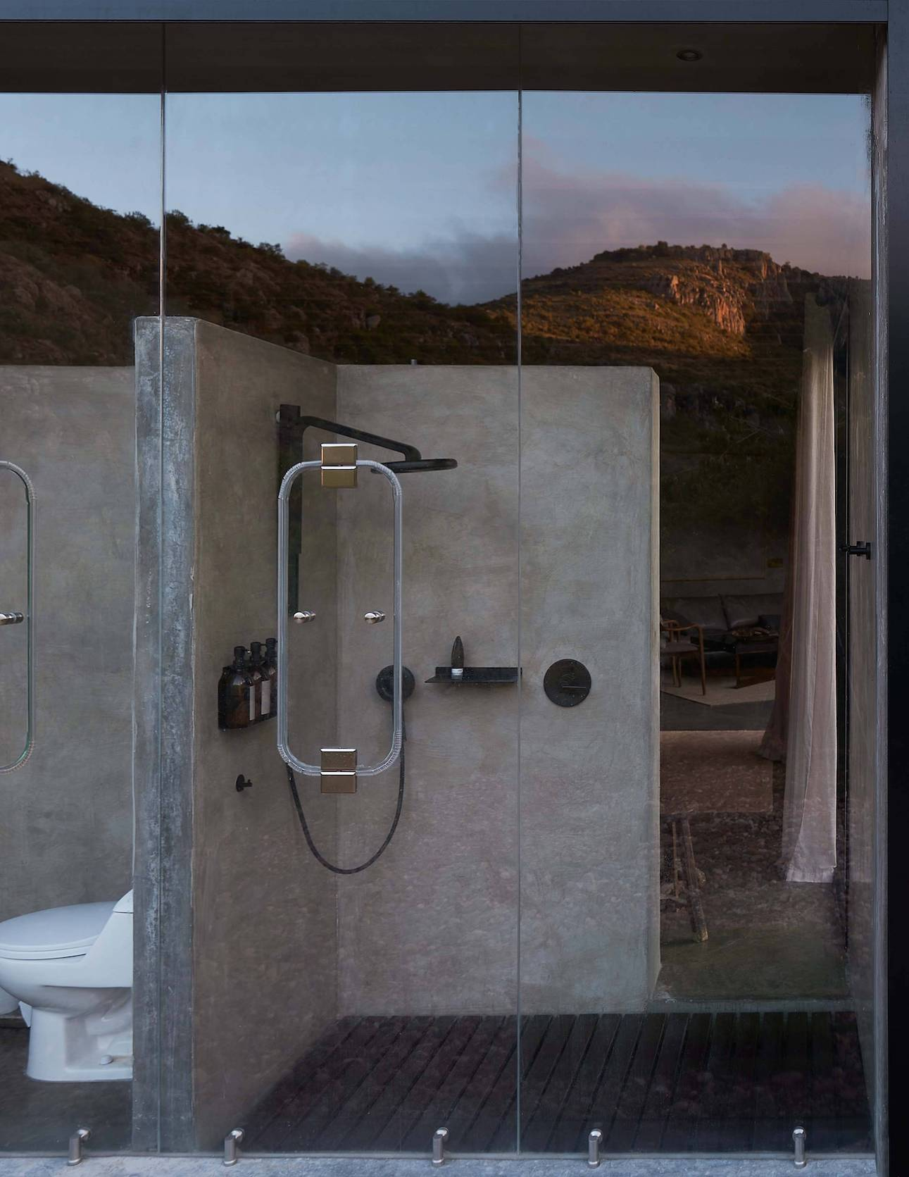 The property features a glass shower.