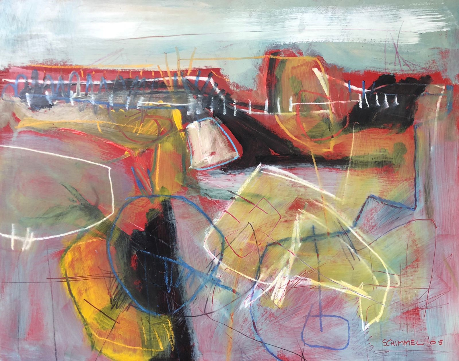 """Dale Sargeant  Fred Schimmel, """"Abstract Landscape', mixed media on board"""