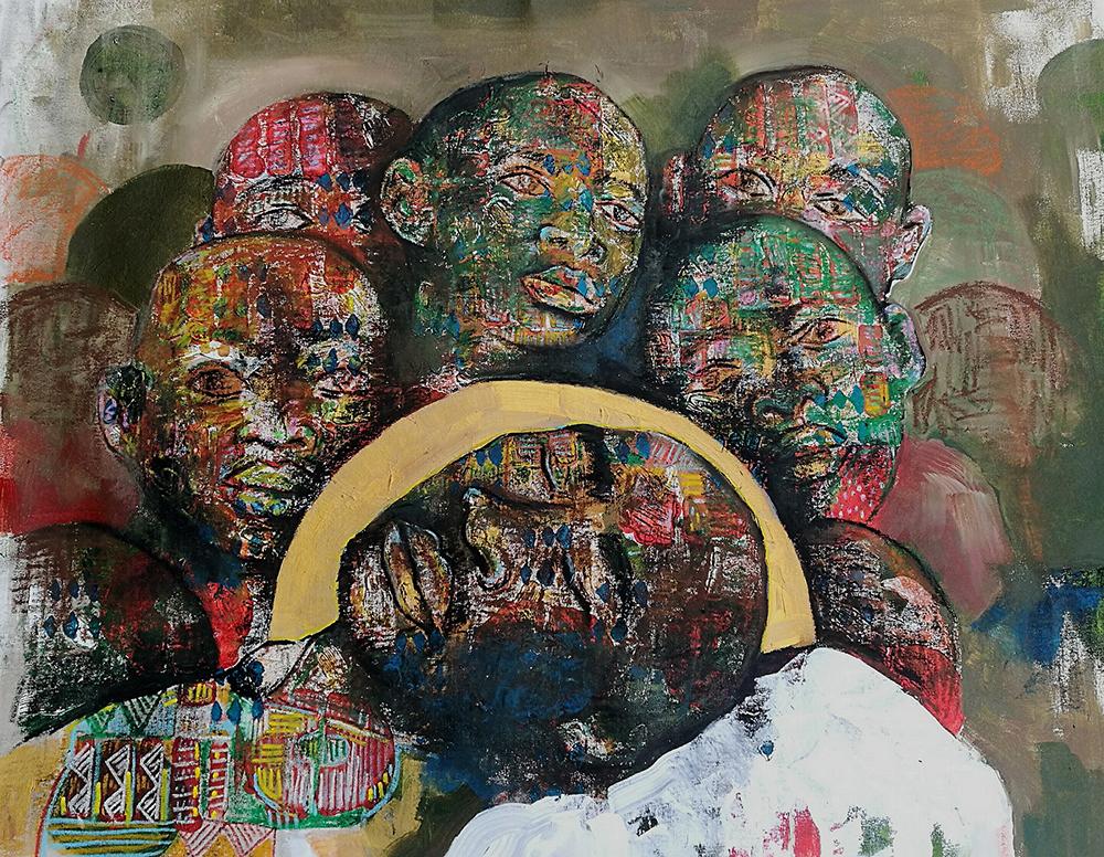 World Art   Buhle Nkalashe, Through the Night, mixed media on canvas