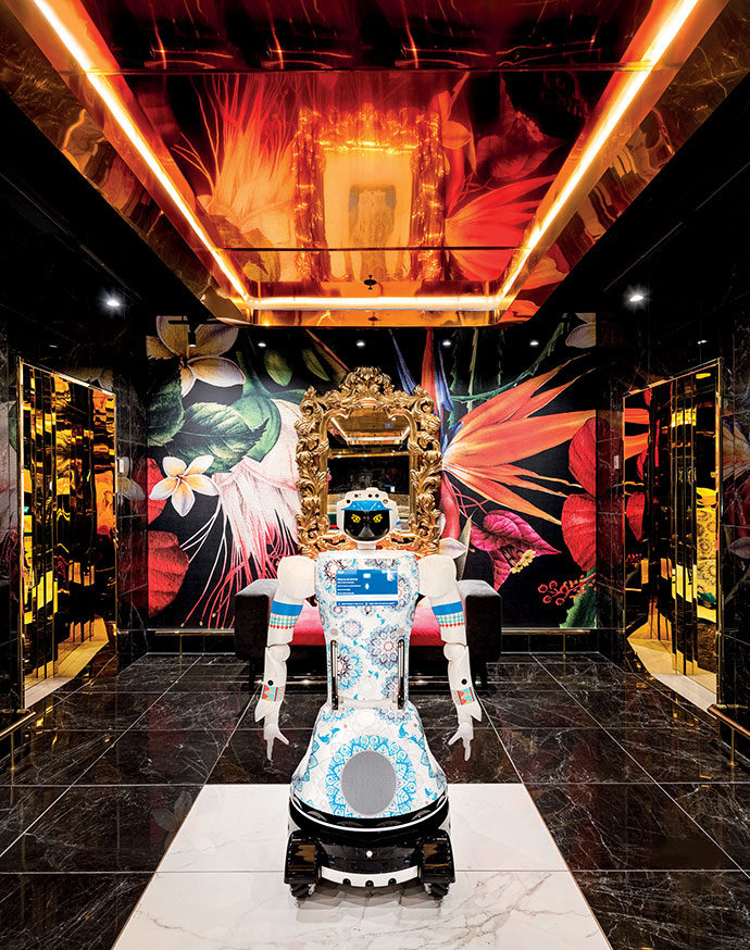 Skyla, one of Hotel Sky Cape Town's aff able robotic concierges, ready to direct guests to their rooms.