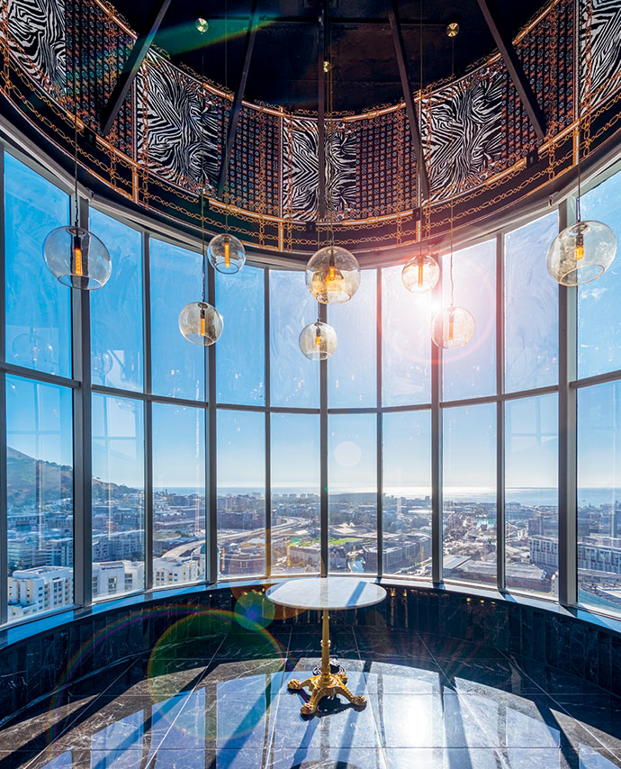 27 on Long – Hotel Sky's bar on the 27th floor – is illuminated by pendants from The Lighting Warehouse.