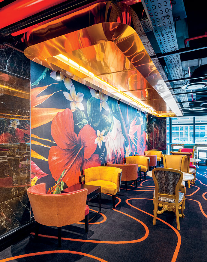 The waiting area is a mashup of pattern, texture and colour.